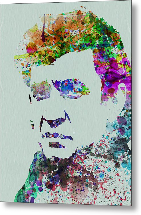 Johnny Cash Metal Print featuring the painting Johnny Cash Watercolor 2 by Naxart Studio