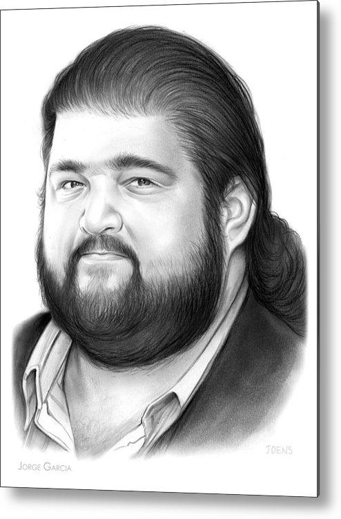 Jorge Garcia Metal Print featuring the drawing Jorge Garcia by Greg Joens