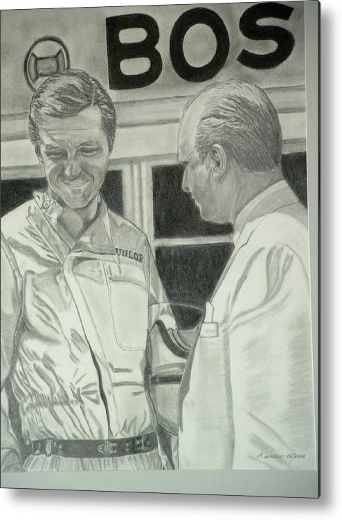 Metal Print featuring the painting Juan Manuel Fangio And Graf Berghe Von Trips by Antje Wieser