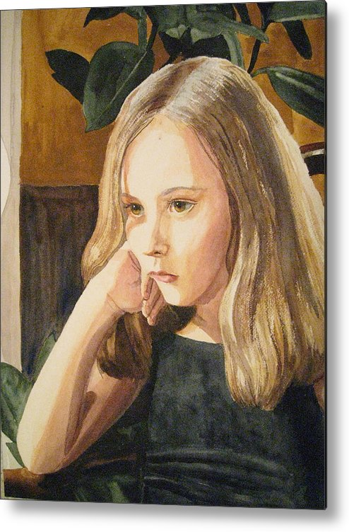 Girl Metal Print featuring the painting Just Thinking by Shirley Braithwaite Hunt