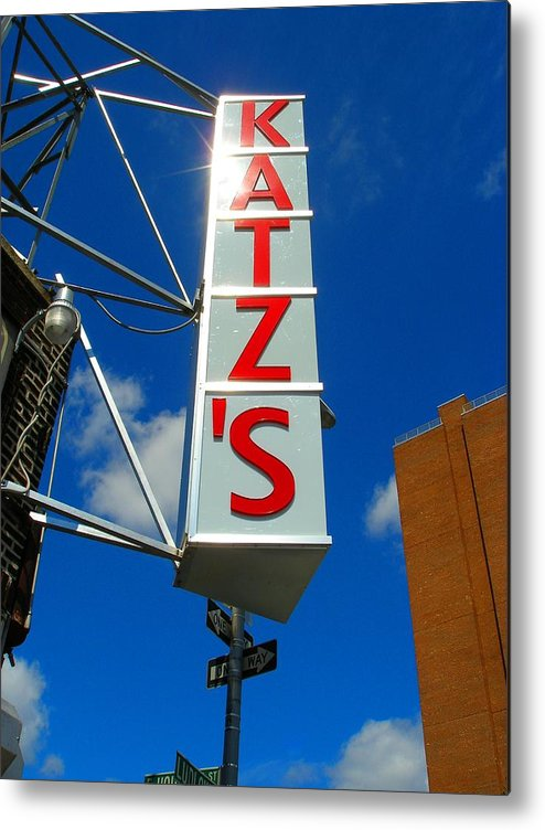 Art Metal Print featuring the photograph Katz's Ny Deli Sign by Candace Garcia