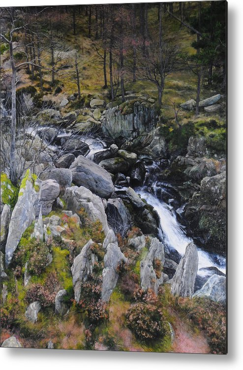 Landscape Metal Print featuring the painting Landscape In Snowdonia by Harry Robertson