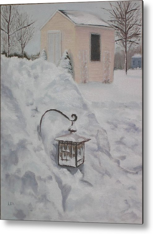 Snow Metal Print featuring the painting Lantern In The Snow by Lea Novak