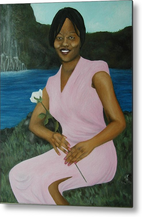 Portrait Metal Print featuring the painting Latasha by Angelo Thomas