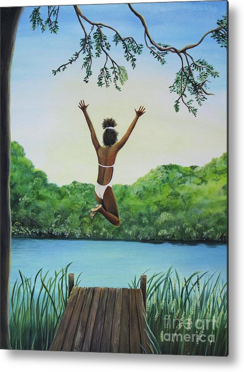 Summer Vacation Metal Print featuring the painting Leap Of Faith by Kris Crollard
