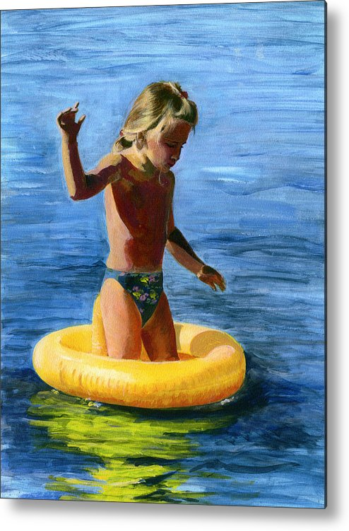Swim Metal Print featuring the painting Learning To Swim by Fiona Jack