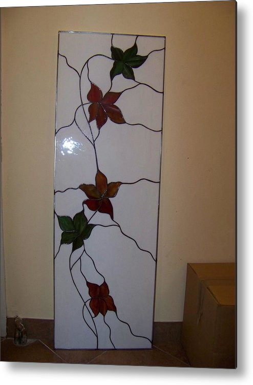 Leaves Metal Print featuring the glass art Leaves by Justyna Pastuszka