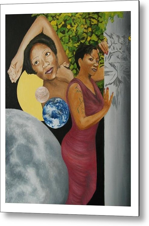 Portrait Metal Print featuring the painting Leo Queen Tiffany by Angelo Thomas