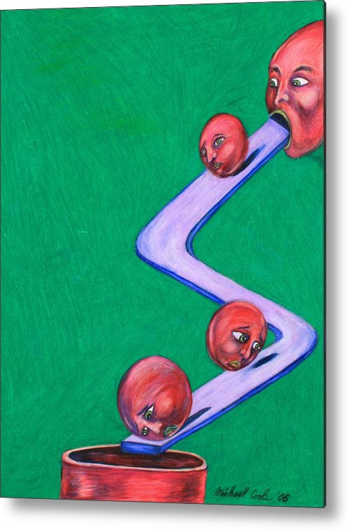 Surreal Rolling Heads Metal Print featuring the drawing Let's Roll by Michael Cook