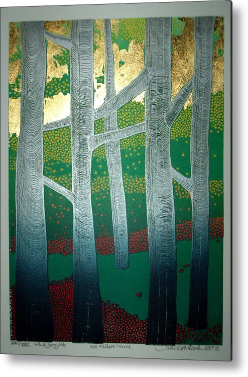 Landscape Metal Print featuring the mixed media Light Between The Trees by Jarle Rosseland