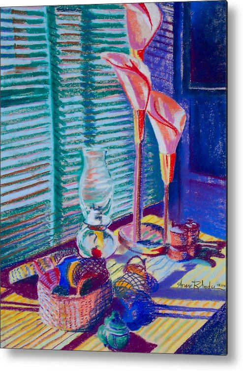 Abstract Metal Print featuring the painting Lightplay by Anne Rhodes