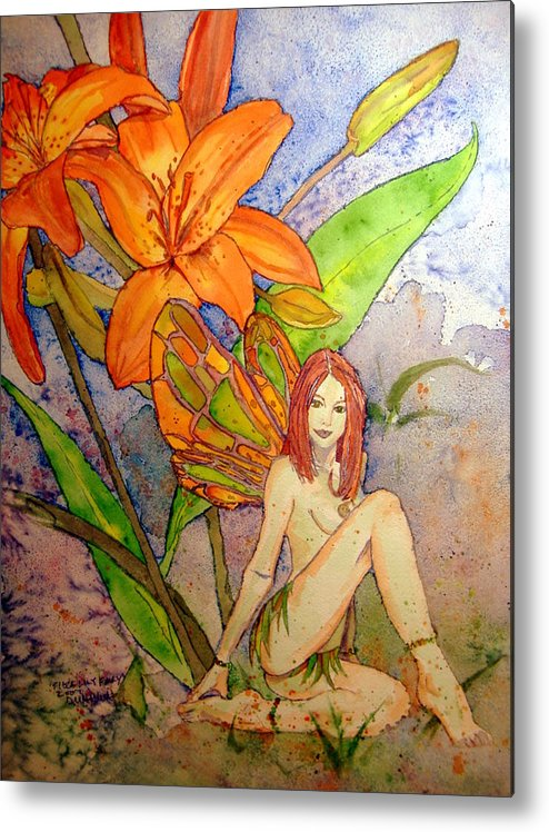 Faerie Metal Print featuring the painting Lillian Keeper Of Both Wealth And Pride - Watercolor by Donna Hanna