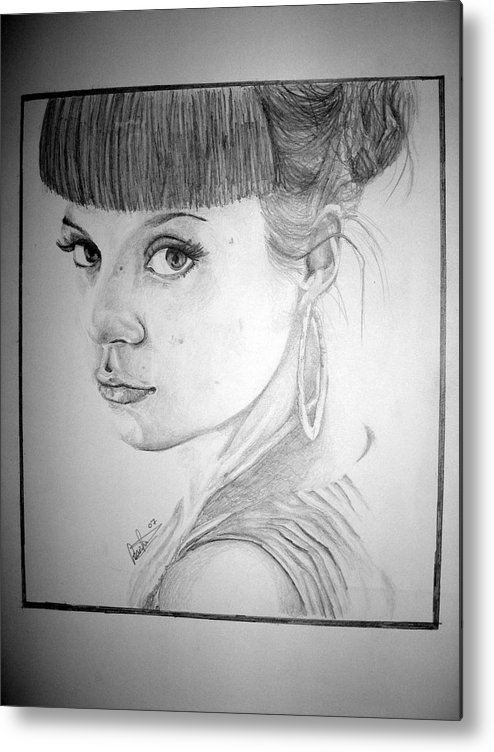 Celeb Portraits Metal Print featuring the drawing Lily Allen by Sean Leonard