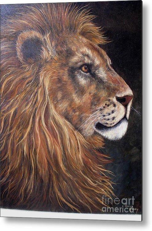 Lion Metal Print featuring the painting Lions Portrait by Pamela Squires
