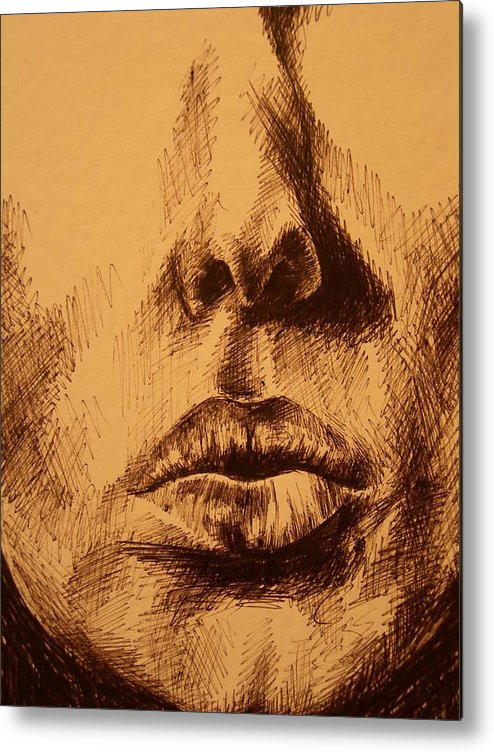 Portrait Metal Print featuring the drawing Lips Are Beautiful by J Oriel