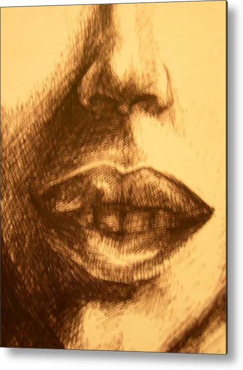 Lips Metal Print featuring the drawing Lips by J Oriel