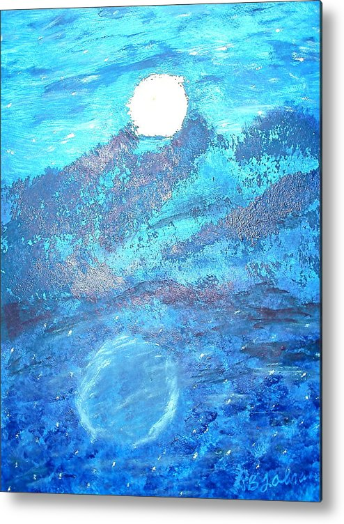 Acrylic Metal Print featuring the painting Lover's Moon by BJ Abrams