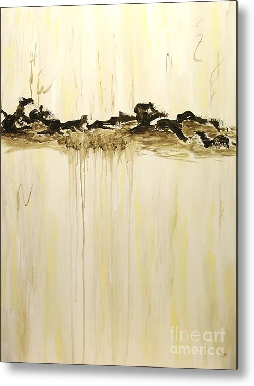 Abstract Metal Print featuring the painting Maelstrom Original Contemporary Modern Abstract Painting by Itaya Lightbourne