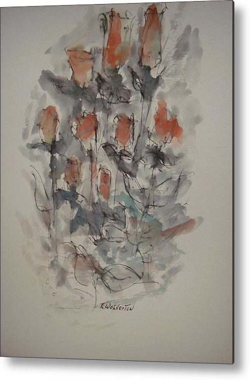 Floral Metal Print featuring the painting Majestic Floral Gg by Edward Wolverton