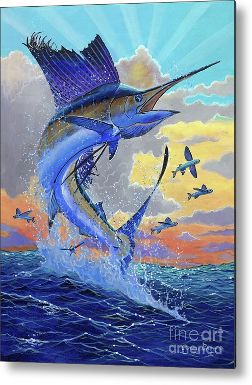 Sailfish Metal Print featuring the painting Majestic Sail Off00159 by Carey Chen