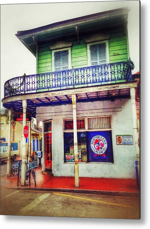 Metal Print featuring the photograph Manass's Grocery From Front by Mark Pritchard