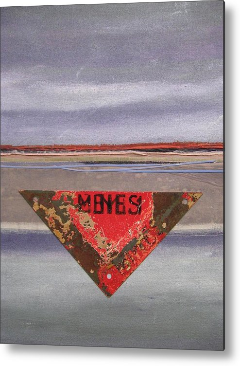 Landscape Metal Print featuring the mixed media Marker At Dusk by Gail Hinchen