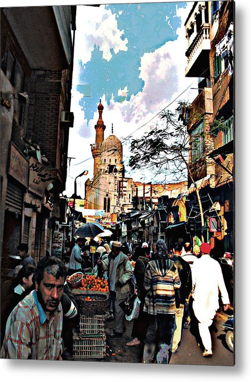 Medieval Cairo Metal Print featuring the digital art Market by Noredin Morgan