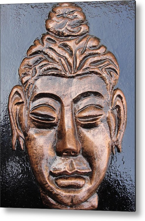 Religious Metal Print featuring the relief Meditating Buddha by Rajesh Chopra