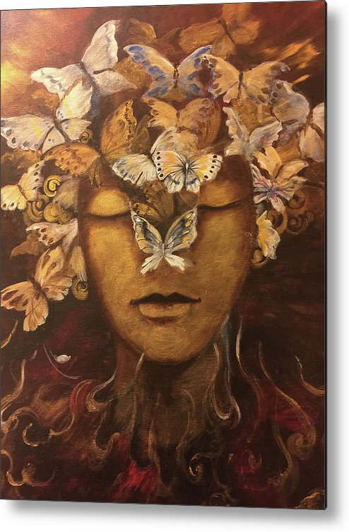 Metal Print featuring the painting Meditation by Naghmeh Danishmand