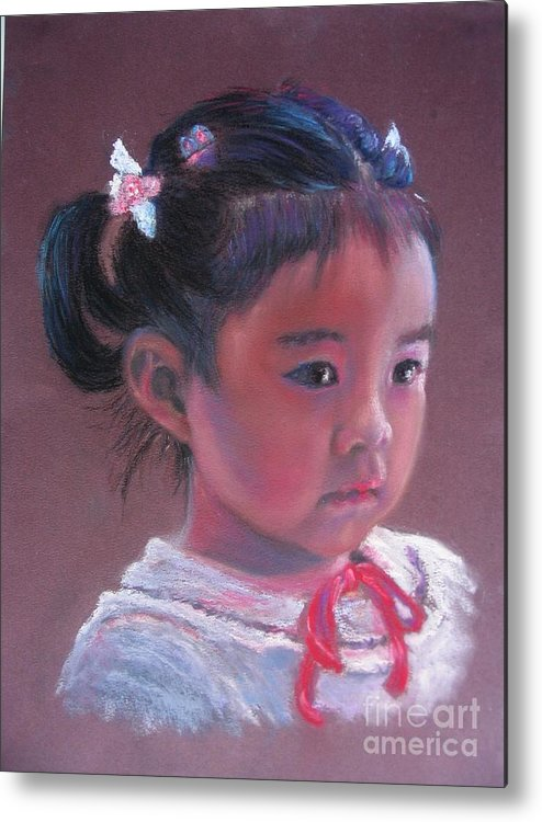 Girl Metal Print featuring the painting Mei Lan Beautiful Orchid by Shirley Leswick
