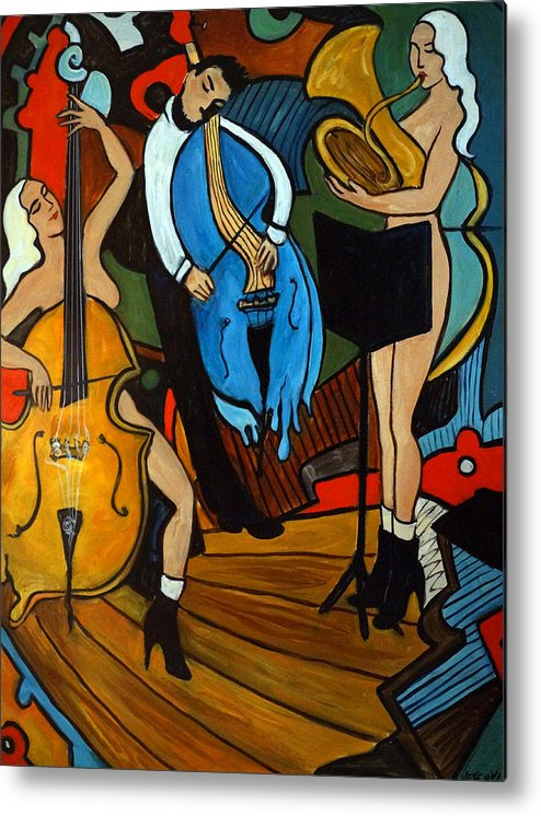 Musician Abstract Metal Print featuring the painting Melting Jazz by Valerie Vescovi