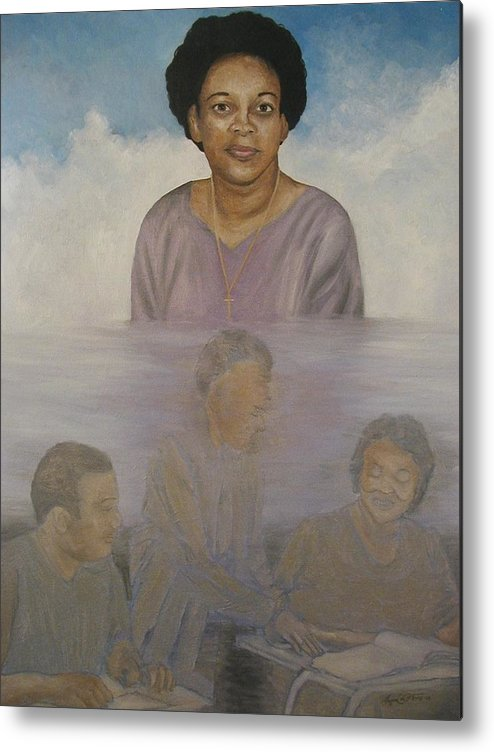 Portrait Metal Print featuring the painting Memorial To Ms. Calvin by Angelo Thomas