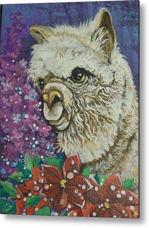 Alpaca Metal Print featuring the painting Merry Christmas Alpaca by Patty Sjolin