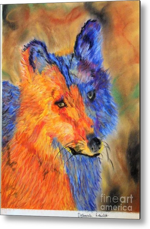 Mexican Wolf Metal Print featuring the pastel Mexican Wolf by Deborah Lewitt