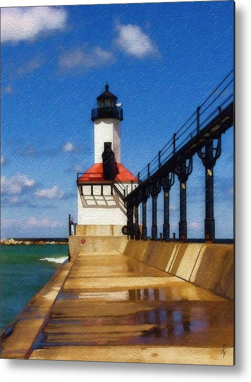 Lighthouse Metal Print featuring the photograph Michigan City Light 1 by Sandy MacGowan