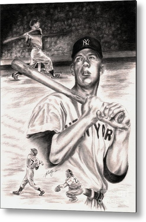 Mickey Mantle Portrait Metal Print featuring the drawing Mickey Mantle by Kathleen Kelly Thompson