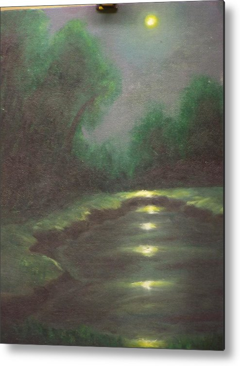 Landscape Metal Print featuring the painting Midnight Hour by Charles Vaughn