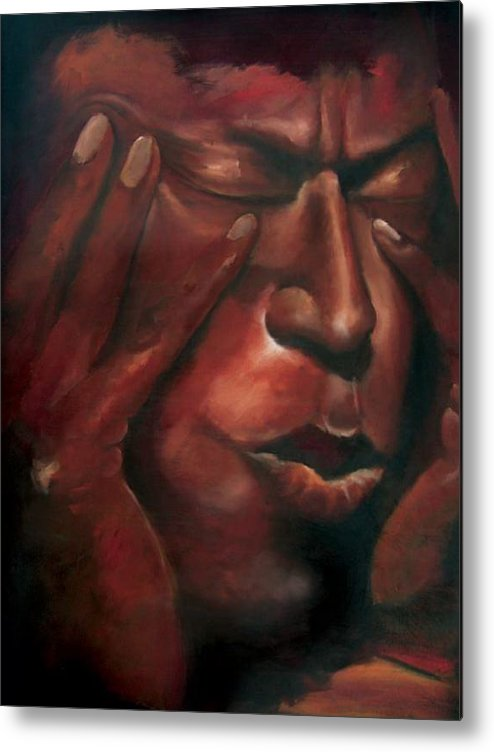African American Art Metal Print featuring the painting Miles Smiles by Anthony Carr