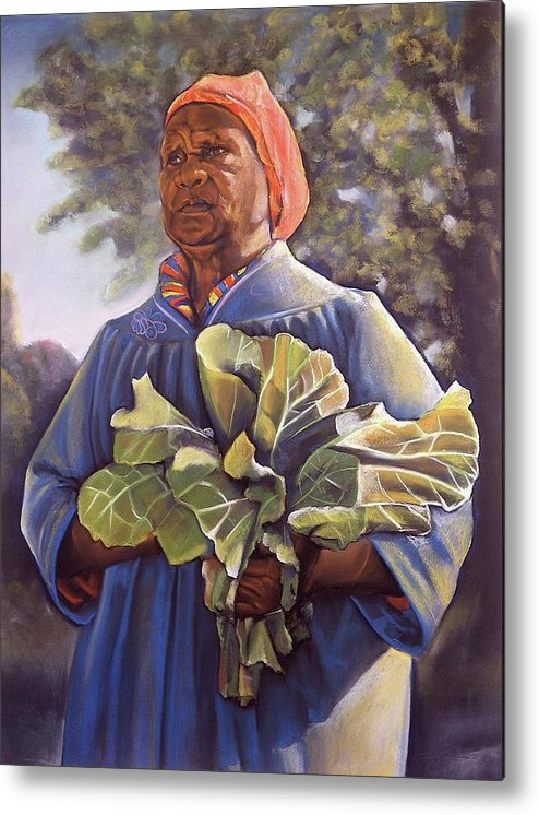 Women Metal Print featuring the pastel Miss Emma's Collard Greens by Curtis James