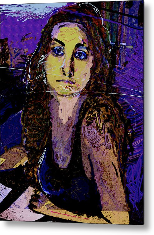 Portrait Metal Print featuring the painting Missing You 2 by Noredin Morgan