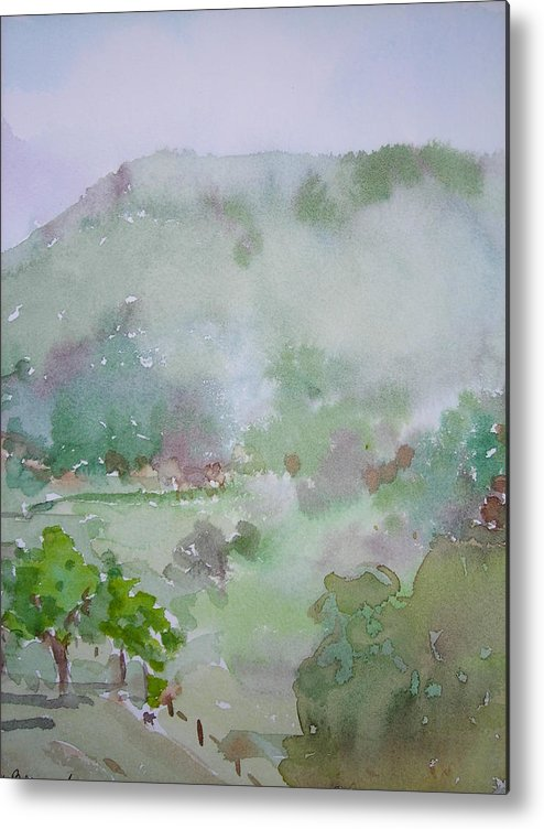 Landscape Metal Print featuring the painting Misty Mountain by Nancy Brennand