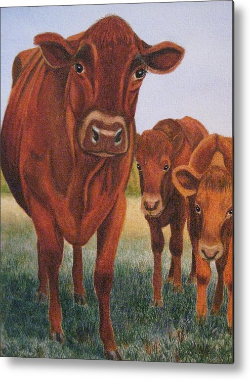 Cows Metal Print featuring the painting Mom And The Kids by Barbara Pascal