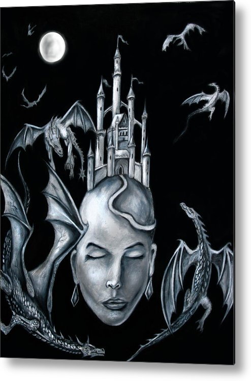 Moon Metal Print featuring the digital art Moon Goddess by Michael Cook