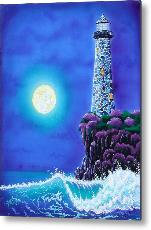 Lighthouse Metal Print featuring the painting Moonlight Vigil by Angie Hamlin