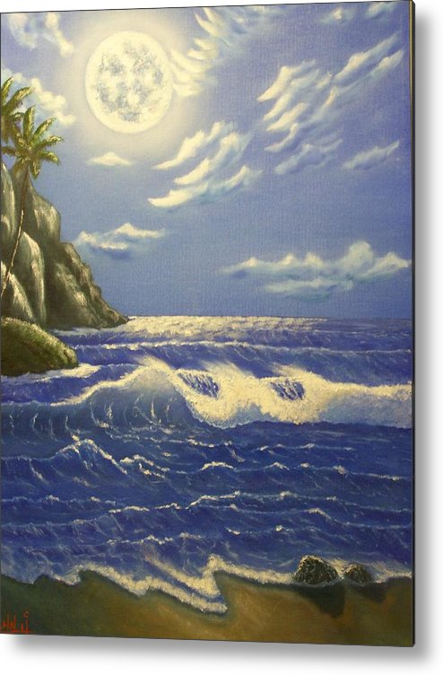 Moon Sea Scape Ocean Waves Beach Palm Trees Metal Print featuring the painting Moonlit Wave by Charles Vaughn