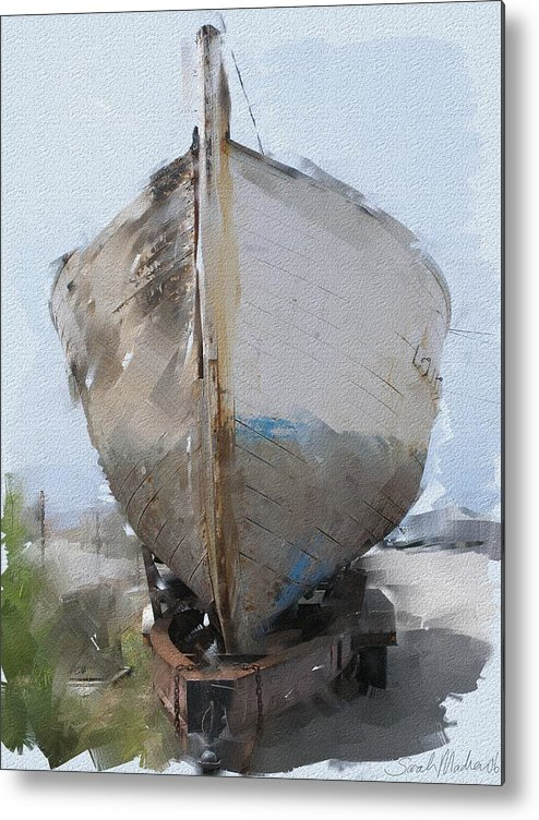 Boat Metal Print featuring the painting Moss Landing Boat by Sarah Madsen