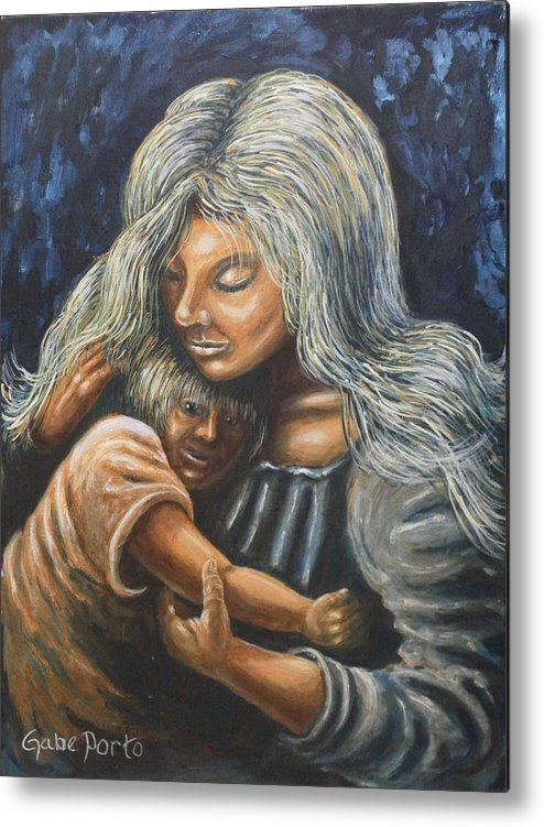 Mother And Child Metal Print featuring the painting Mother And Child by Gabriel Porto