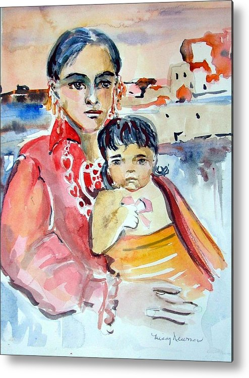 Indian Metal Print featuring the painting Mother And Child by Mindy Newman