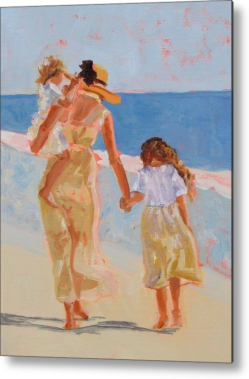 Woman Metal Print featuring the painting Mother And Two Daughters by Molly Wright