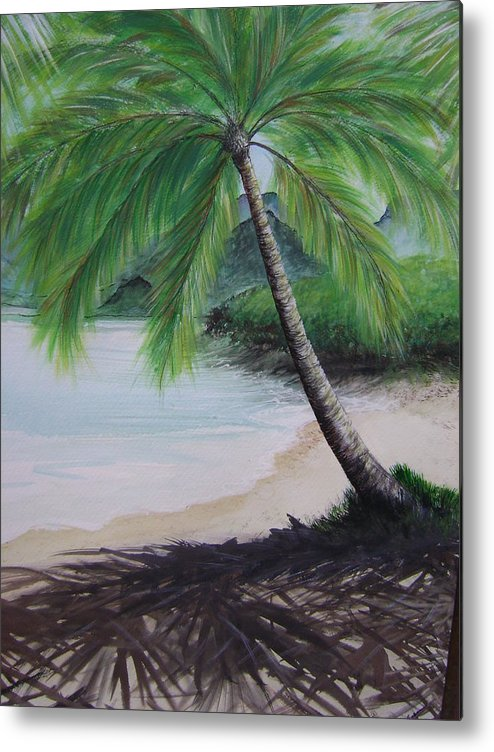 Beachscape Metal Print featuring the painting Mother Natures Umbrella by Laura Johnson